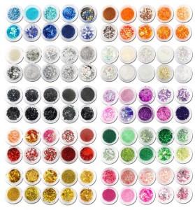 Gel Nägel Glitzer Sortiment: 100 x Nagelkunst mit Strass, Pailetten, uvm.