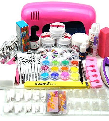 Coscelia-9W-UV-Lampen-Trockner-Rosa-Nagelkleber-Acrylpulver-UV-Gel-Nail-Art-Knstliche-Ngel-Set-0-8