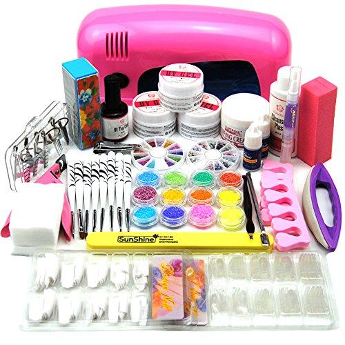 coscelia 9w uv lampen trockner rosa nagelkleber acrylpulver uv gel nail art k nstliche n gel set. Black Bedroom Furniture Sets. Home Design Ideas