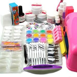 Coscelia-9W-UV-Lampen-Trockner-Rosa-Nagelkleber-Acrylpulver-UV-Gel-Nail-Art-Knstliche-Ngel-Set-0-9