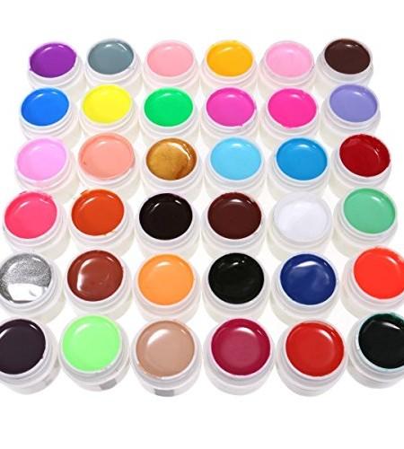 DancingNail-36-Farben-Nail-Art-UV-Gel-Set-Farbgel-Gele-Glitter-Puder-Nagel-Design-Nagel-Kunst-spitzt-0